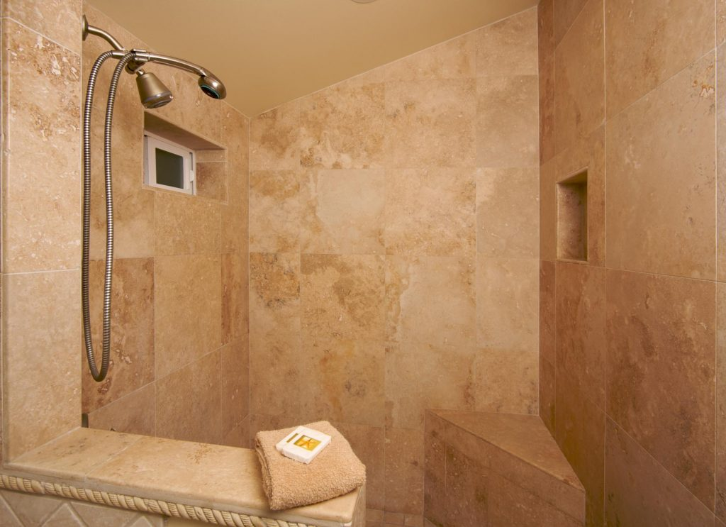 stone tiling in shower
