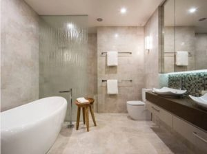 Bathroom newly updated in Bendigo with almond ceramic tiles