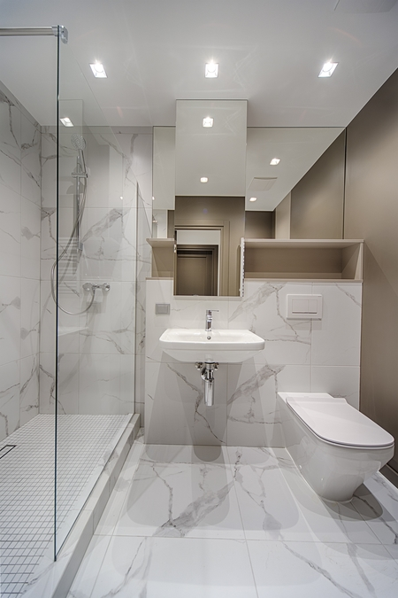Luxury design bathroom renovated in Bendigo with marble tiles